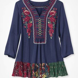NWT Coldwater Creek Satin Embroidered Blouse XS